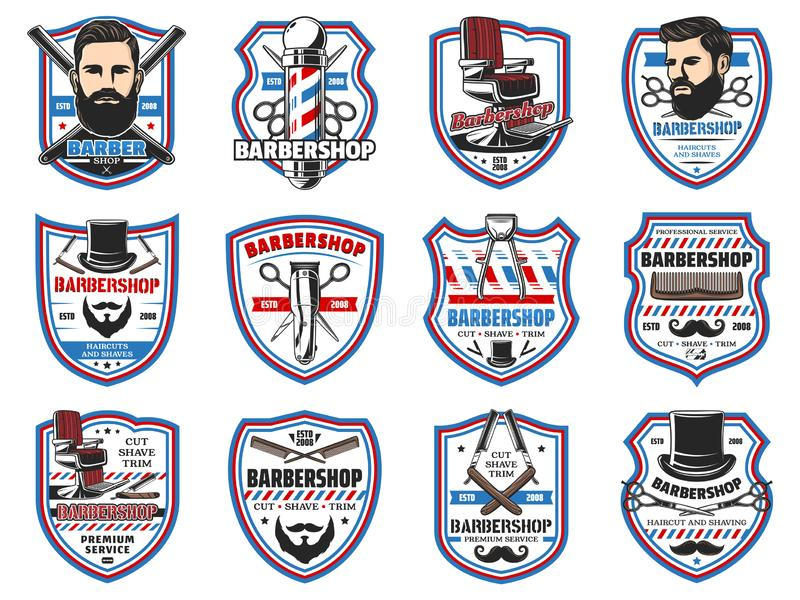Barber shop signs, mustaches and beard shave salon vector illustration