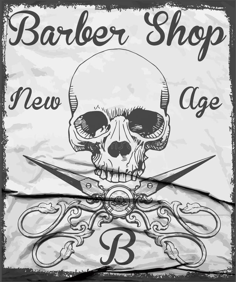 Barber Skull Half Profile Stock Illustration. Illustration