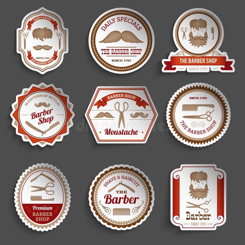 Barber Shop Stickers stock illustration
