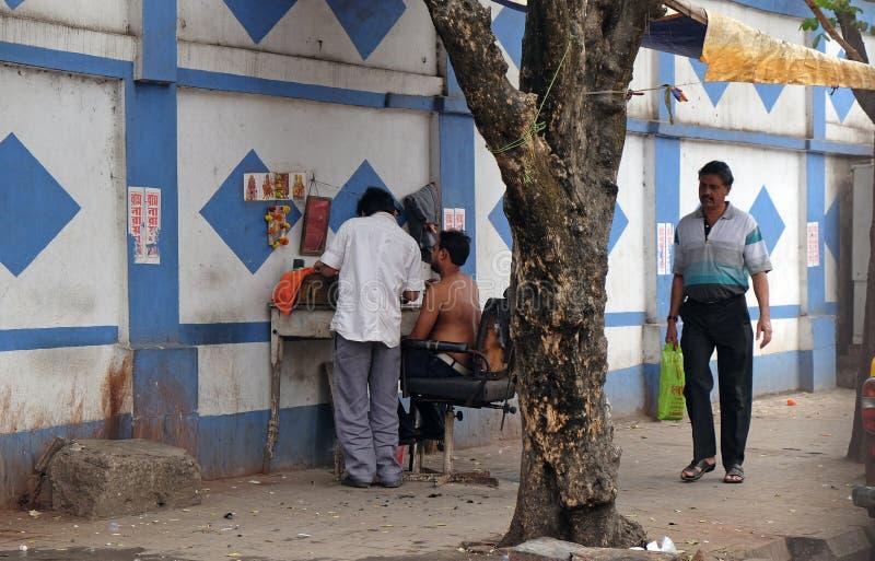 Barber shop on a street in Kolkata stock photos