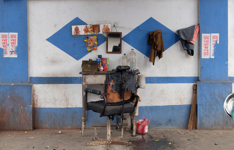 Barber shop on a street in Kolkata stock image