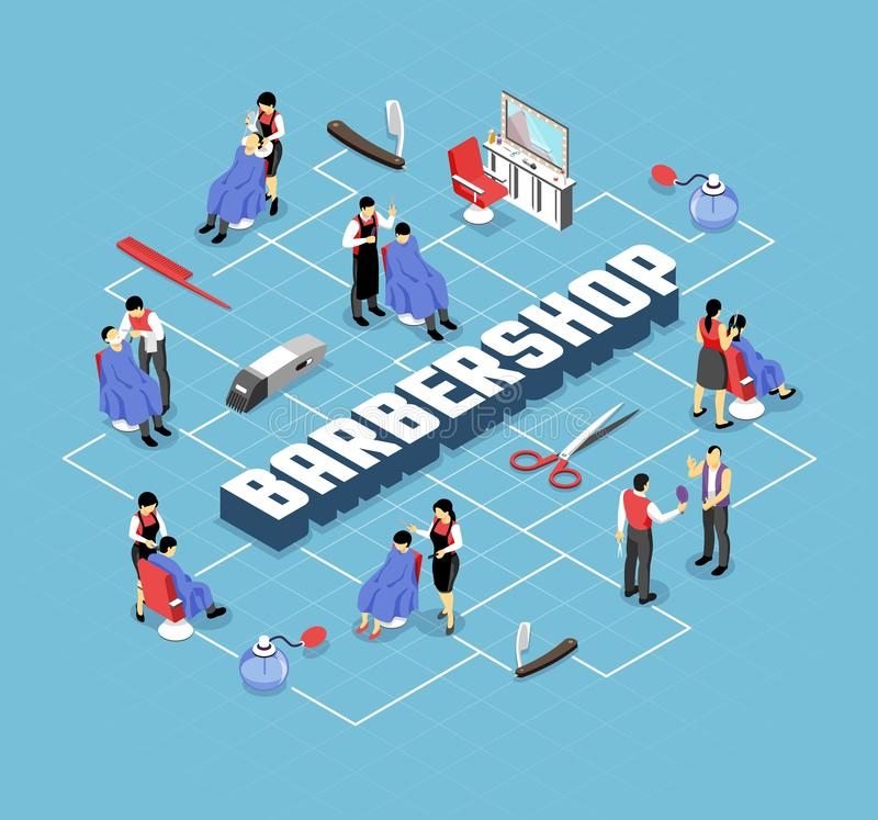 Barber Shop Isometric Flowchart. Barber shop stylists and customers professional accessories and interior elements isometric flowchart on blue background vector vector illustration