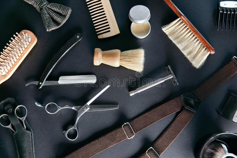 Barber Shop Tools And Equipment. Men`s Grooming Tools. And Accessory On Grey Background. High Resolution royalty free stock image