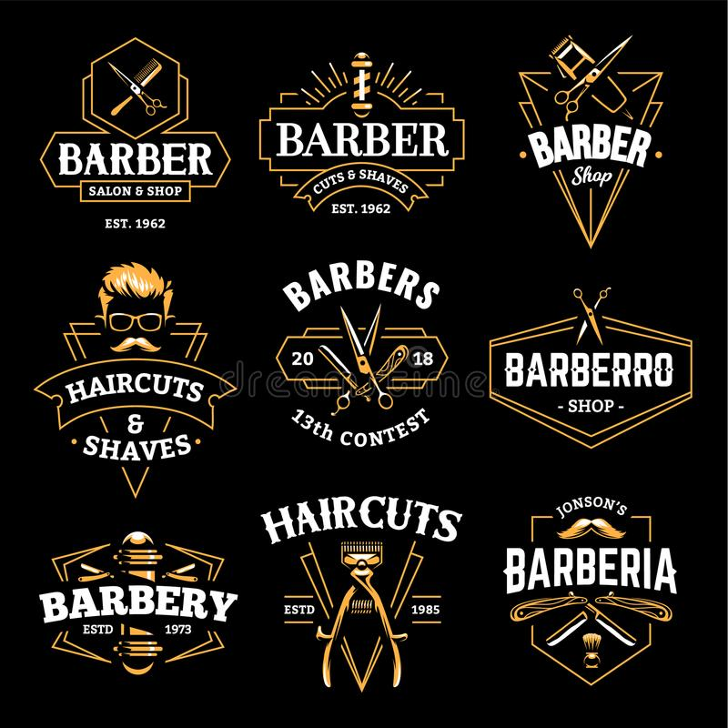 Barber Shop Vector Retro Emblems stock de ilustración