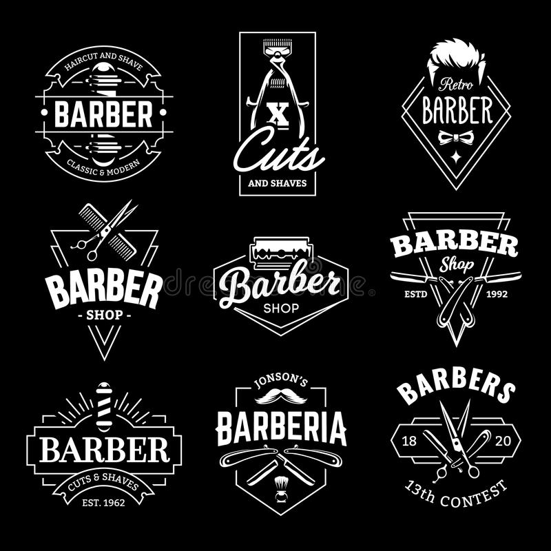 Barber Shop Vector Retro Emblems vector illustration