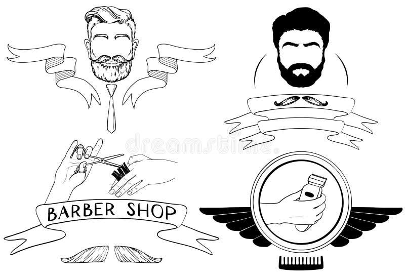 Download Barber Shop, Vektor-Schattenbilder Und Ikonen Eingestellt Vektor Abbildung - Illustration von friseursalon, rasur: 96934857