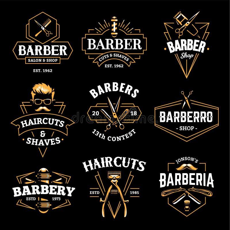 Barber Shop Vetora Retro Emblems ilustração stock