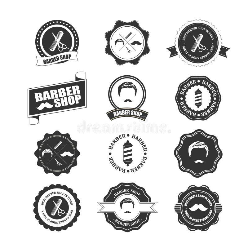 Barber shop vintage retro vector flourish and calligraphic typographic design elements. Illustrator eps10 royalty free illustration