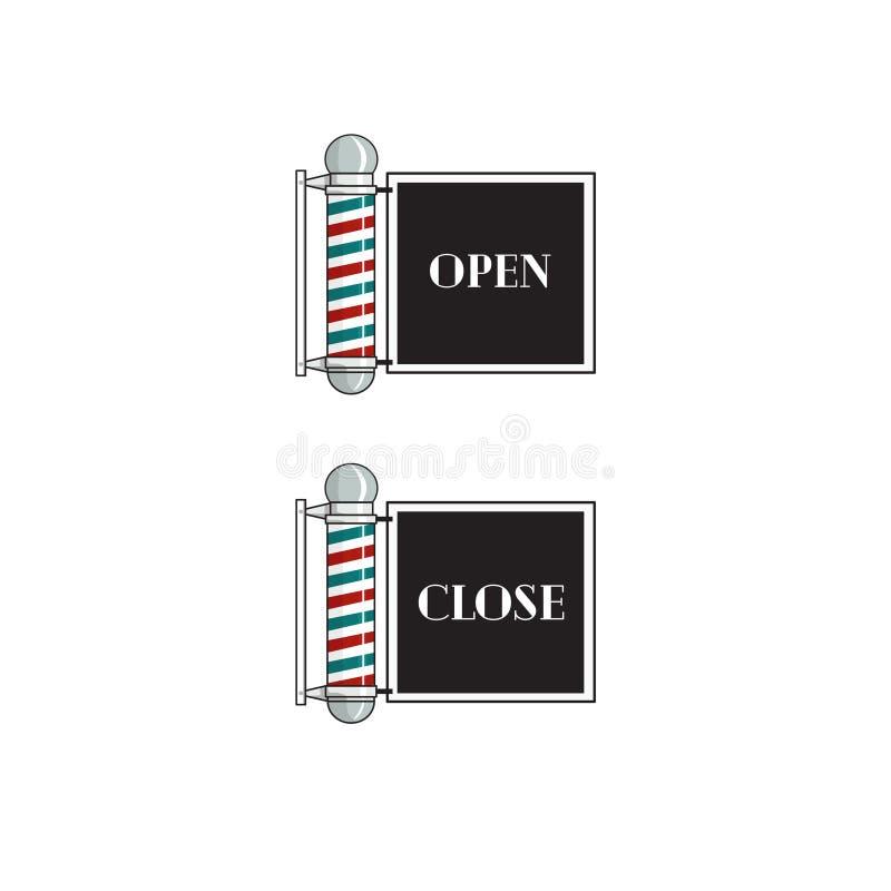Barber Sign Open And Close royaltyfri illustrationer