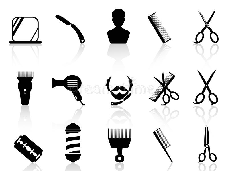 Barber tools and haircut icons set. From white background royalty free illustration