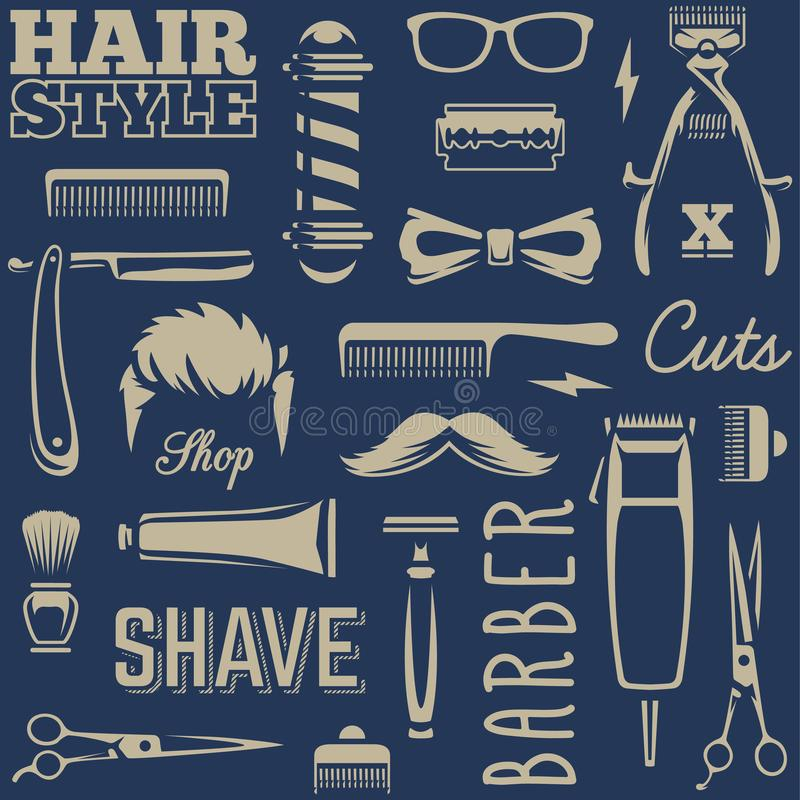 Barber Tools Seamless Texture Vector royalty illustrazione gratis