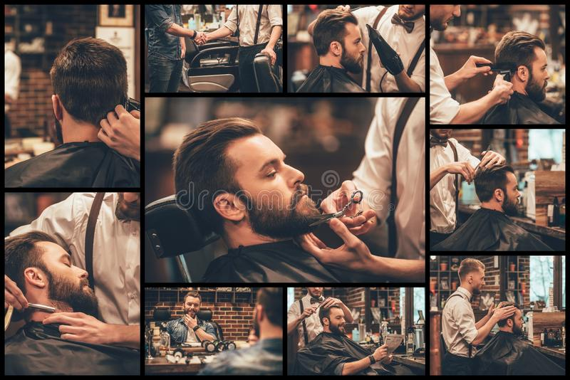 Barber at work. stock image