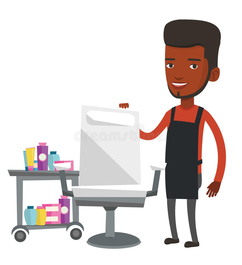 Barber at workplace in barbershop. African-american barber standing near armchair and table with cosmetics in barbershop. Young barber standing at workplace in