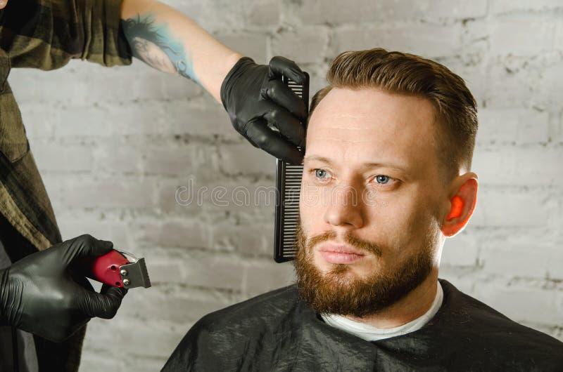 Barberarehanden i handskar klippte h?r och mannen f?r vuxen gihger f?r rakningar den sk?ggiga p? en bakgrund f?r tegelstenv?gg N? royaltyfria foton
