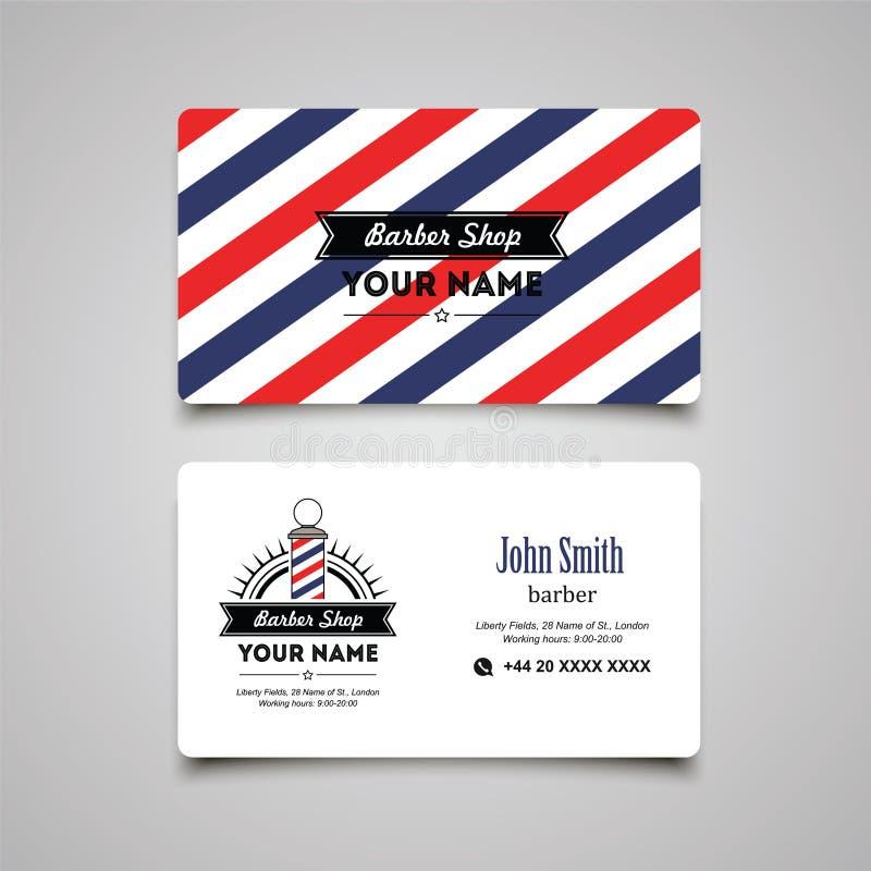 Barberaren för hårsalongen shoppar mallen för affärskortdesignen stock illustrationer