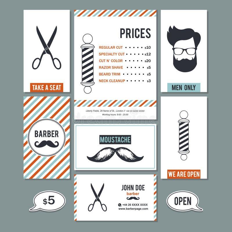 Barberaren för hårsalongen shoppar tappningtecknet, och servicepriser planlägger t stock illustrationer