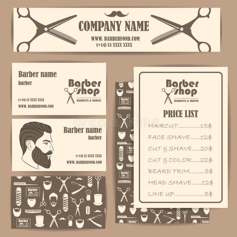 Barberaren för hårsalongen shoppar uppsättningen för mallen för designen för för tappningaffärskort och priser stock illustrationer