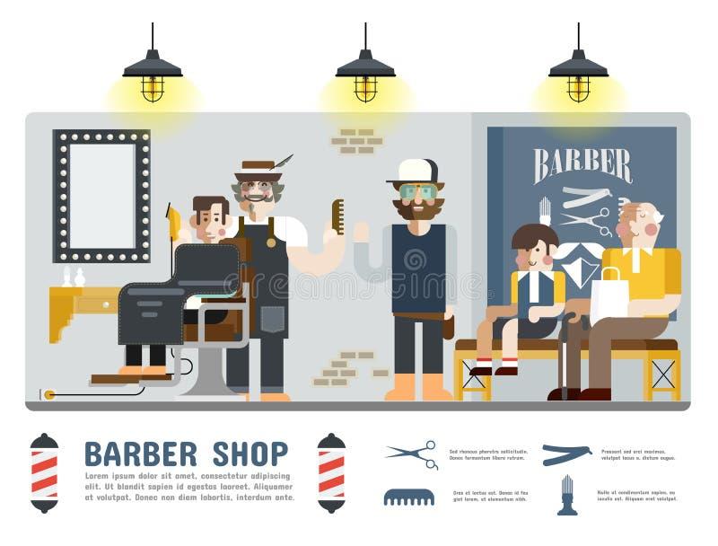 Barberaren shoppar vektor illustrationer