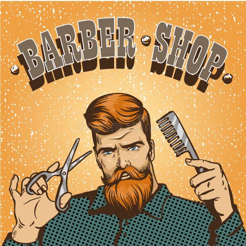 Barberaren shoppar affischvektorillustrationen Hipsterstylisten med sax planlägger i stil för tappningpopkonst stock illustrationer