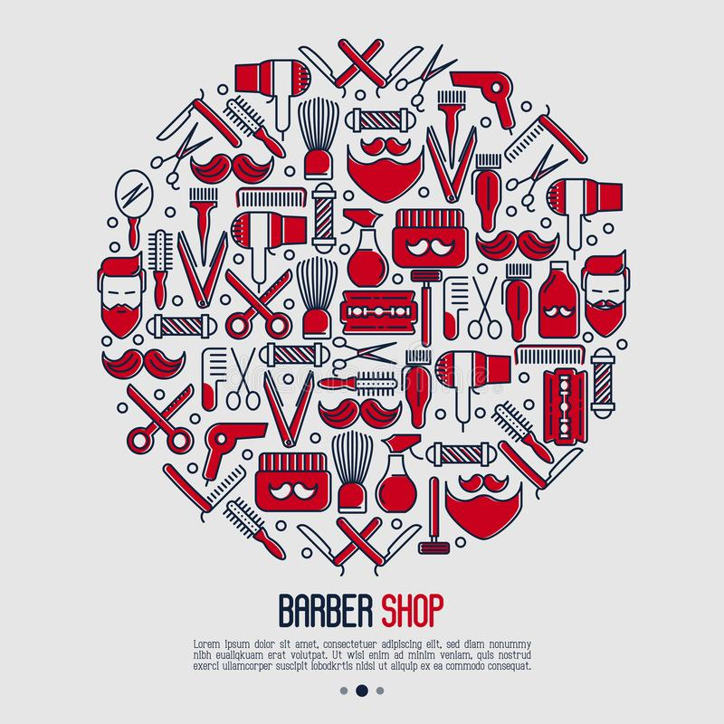 Barberaren shoppar begrepp i cirkel stock illustrationer