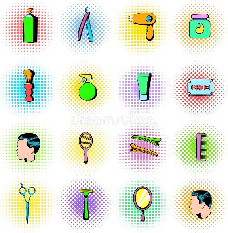Barberaren shoppar beståndsdelar som symboler ställer in, komiker utformar royaltyfri illustrationer