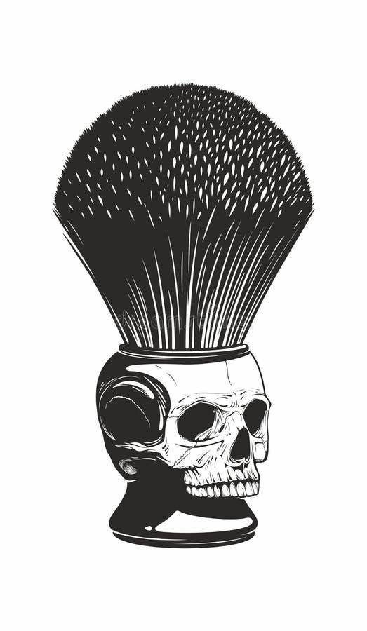 Barberaren shoppar borsten stock illustrationer