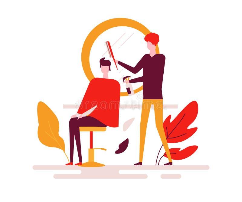 Barberaren shoppar - den färgrika plana designstilillustrationen royaltyfri illustrationer