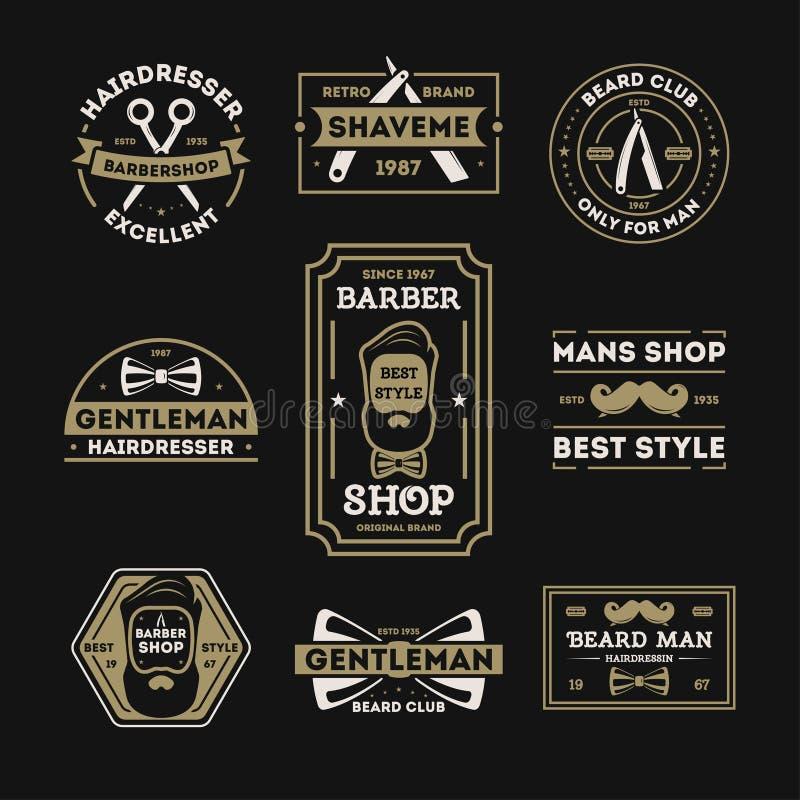 Barberaren shoppar den tappning isolerade etikettuppsättningen royaltyfri illustrationer