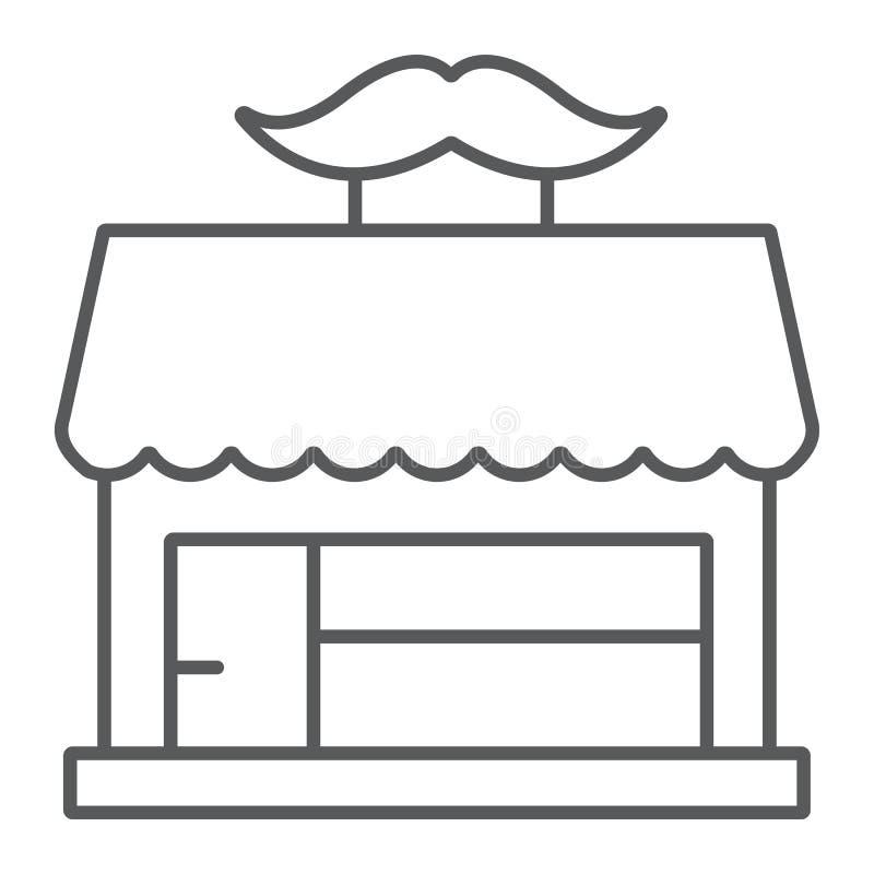 Barberaren shoppar den tunna linjen symbol, frisering och huset, det byggande tecknet, vektordiagram, en linjär modell på ett vit royaltyfri illustrationer