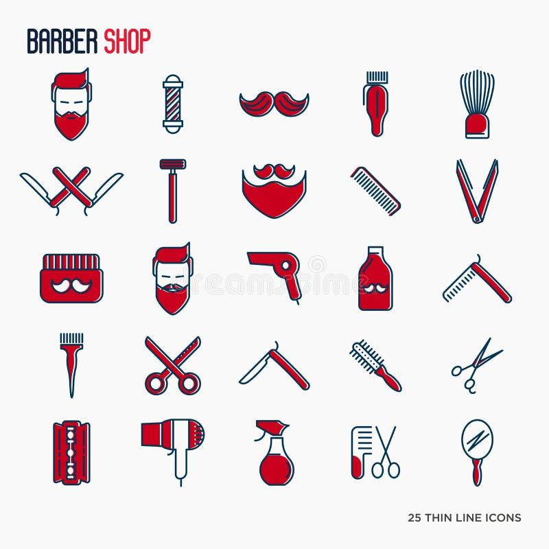 Barberaren shoppar den tunna linjen symbolsuppsättning royaltyfri illustrationer