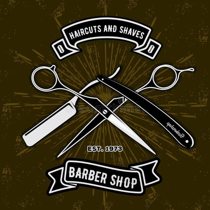 Barberaren shoppar det tappningetiketten, emblemet eller emblemet med sax och rakknivar på mörk bakgrund Frisyrer och rakningar vektor illustrationer