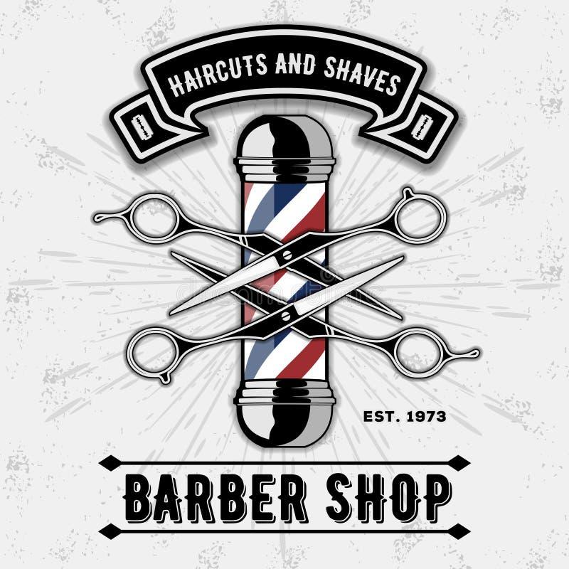 Barberaren shoppar det vektortappningetiketten, emblemet eller emblemet på grå bakgrund royaltyfri illustrationer