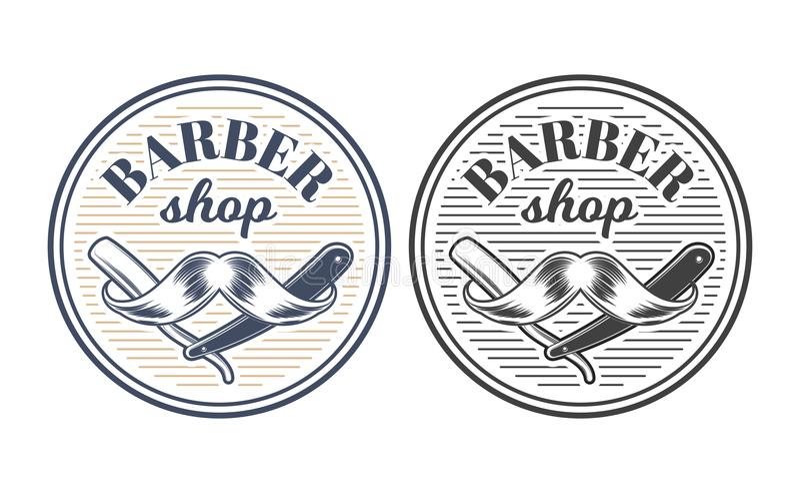 Barberaren shoppar inristade stilvektorn för utrustning illustrationen royaltyfri illustrationer