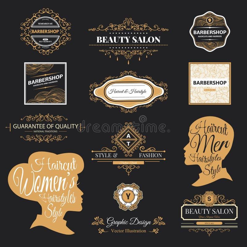 Barberaren shoppar logo vektor illustrationer
