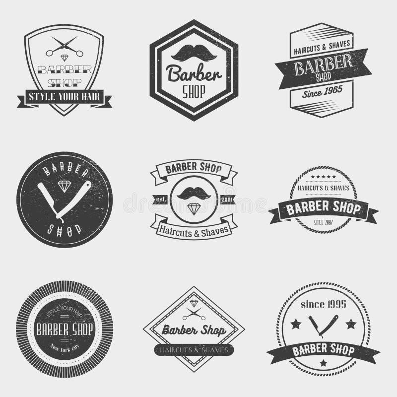 Barberaren shoppar logovektoruppsättningen i tappningstil Planlägg beståndsdelar, etiketter, emblem och emblem vektor illustrationer