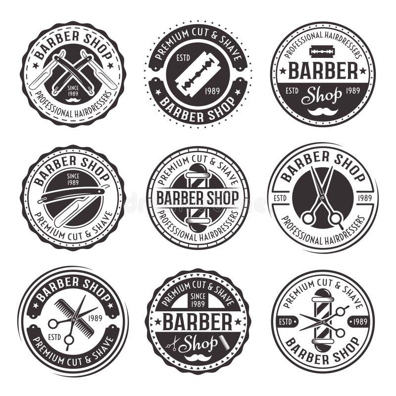 Barberaren shoppar uppsättningen av nio vektortappningemblem stock illustrationer