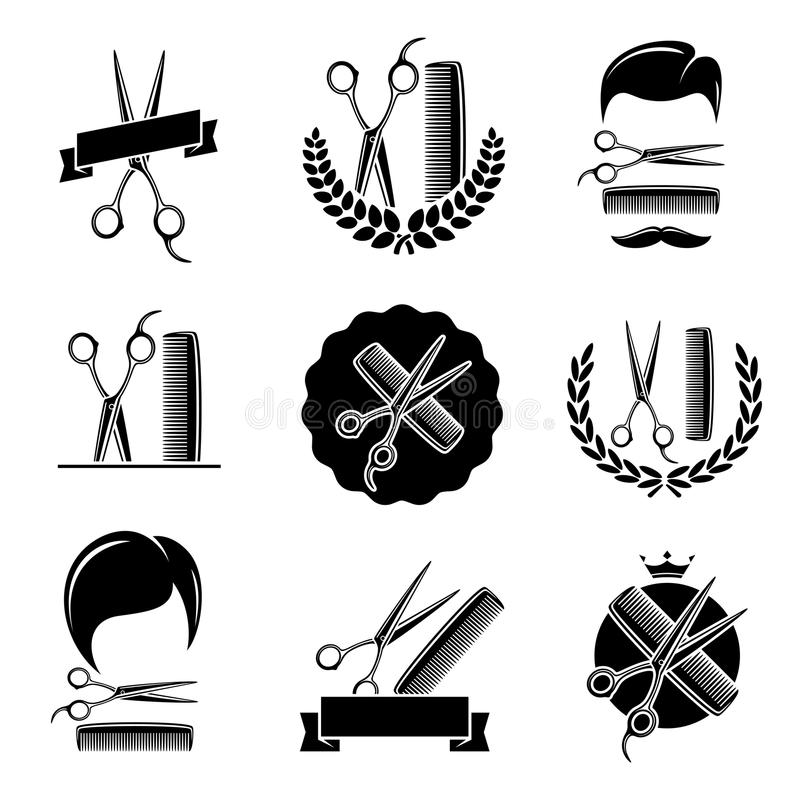 Barberaren shoppar uppsättningen vektor vektor illustrationer