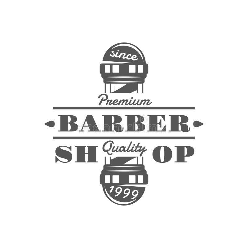 Barberaren shoppar vektortappningemblem, etiketter, emblem och logoer i monokrom stil royaltyfri illustrationer