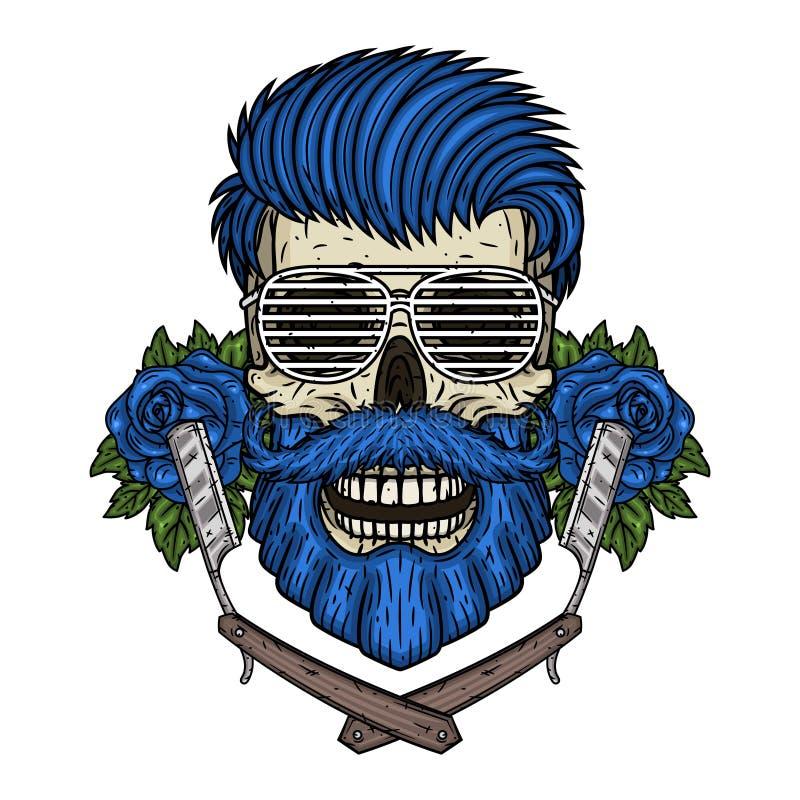 Barberareskalle Hipsterskalle med barberarebladet, rosor och solglasögon Illustration f?r frisersalong vektor illustrationer