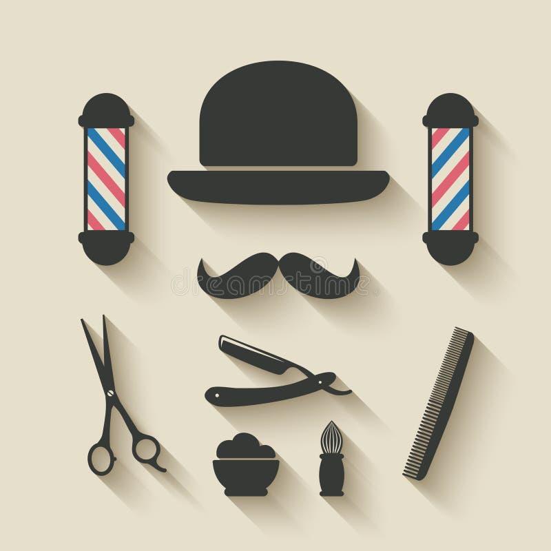 Barberaresymbolsuppsättning royaltyfri illustrationer