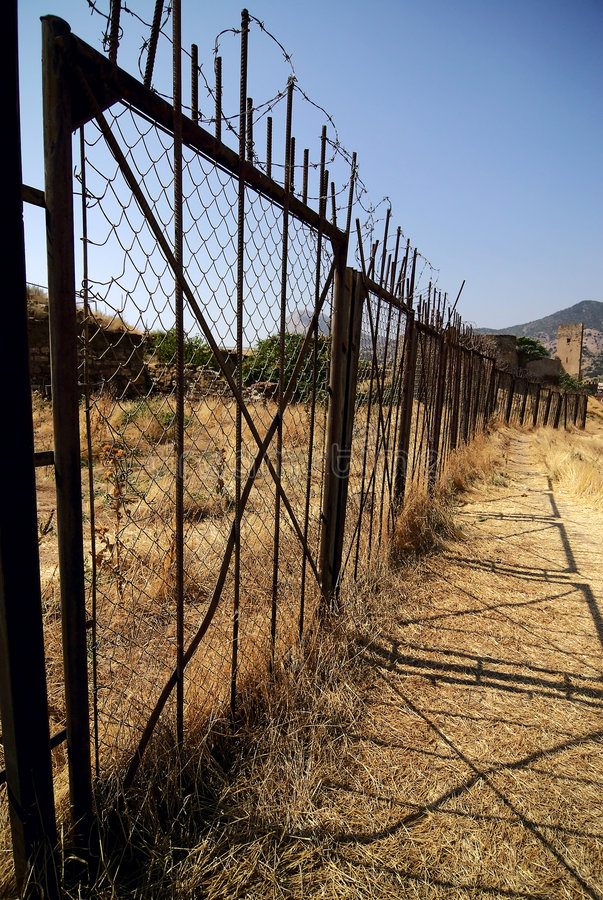 Download Barbered Fence Protects Restricted Zone Royalty Free Stock Photography - Image: 6709127