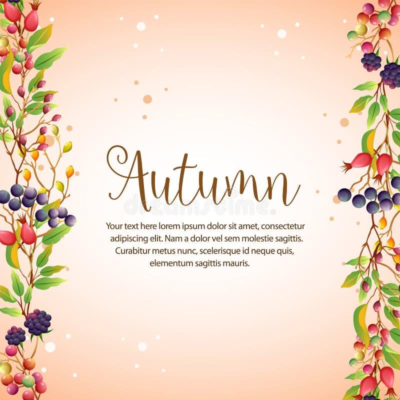 Barberies границы счастливых листьев осени красочных вертикальные бесплатная иллюстрация