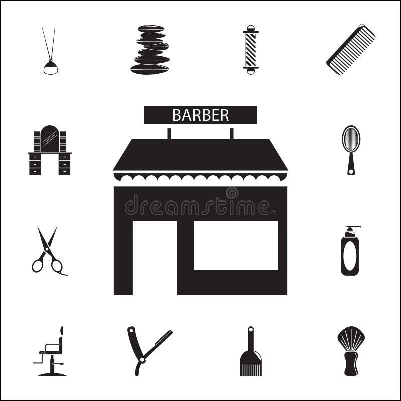 Barbershop που χτίζει το μπροστινό εικονίδιο Λεπτομερές σύνολο εικονιδίων κουρέων Γραφικό σημάδι σχεδίου εξαιρετικής ποιότητας Έν ελεύθερη απεικόνιση δικαιώματος