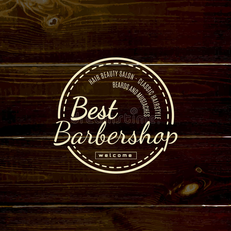 Barbershop badges logos and labels for any use. On wooden background texture stock photo