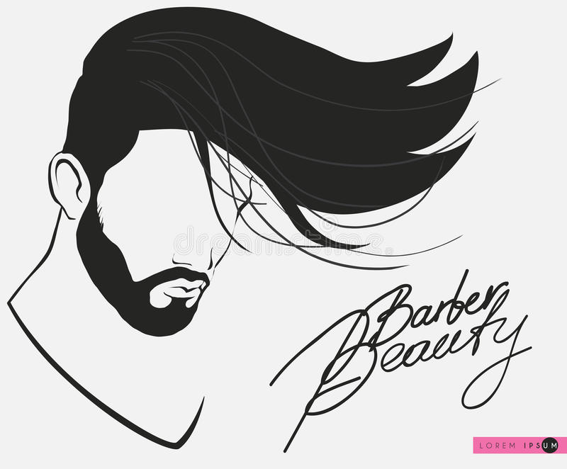 Barbershop beard Mustache Hairstyle.Hipster barbershop european man vector illustration