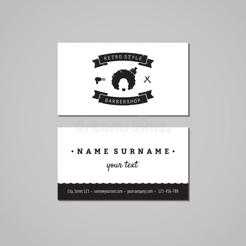 Barbershop business card design concept. Barbershop logo with afro hairstyle woman. Vintage, hipster and retro style. stock illustration