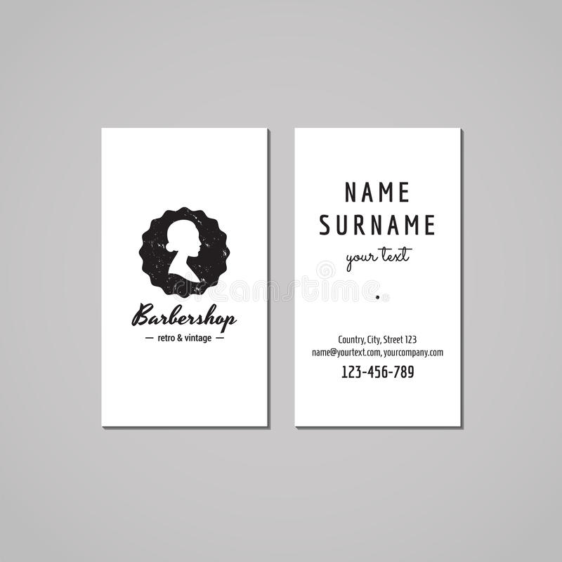 Barbershop business card design concept. Barbershop logo-badge with bun hair style woman profile. Vintage, hipster and retro style royalty free illustration
