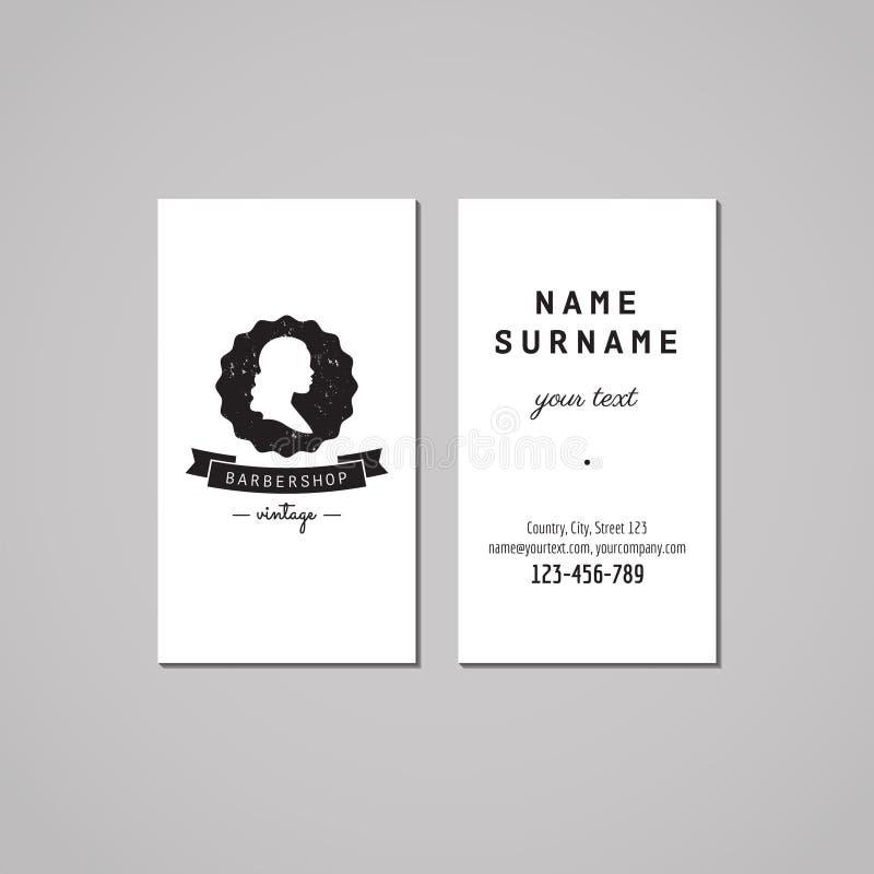 Barbershop business card design concept. Barbershop logo-badge with wavy long hair woman profile and ribbon. Vintage design. royalty free illustration