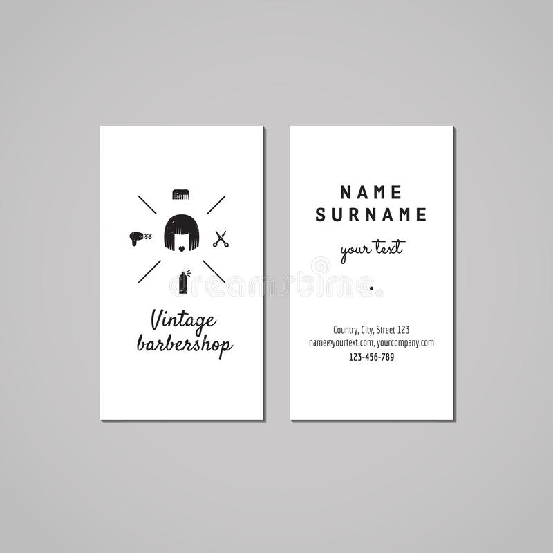 Barbershop business card design concept. Barbershop logo with bob hair woman. Vintage, hipster and retro style. Black and white. royalty free illustration