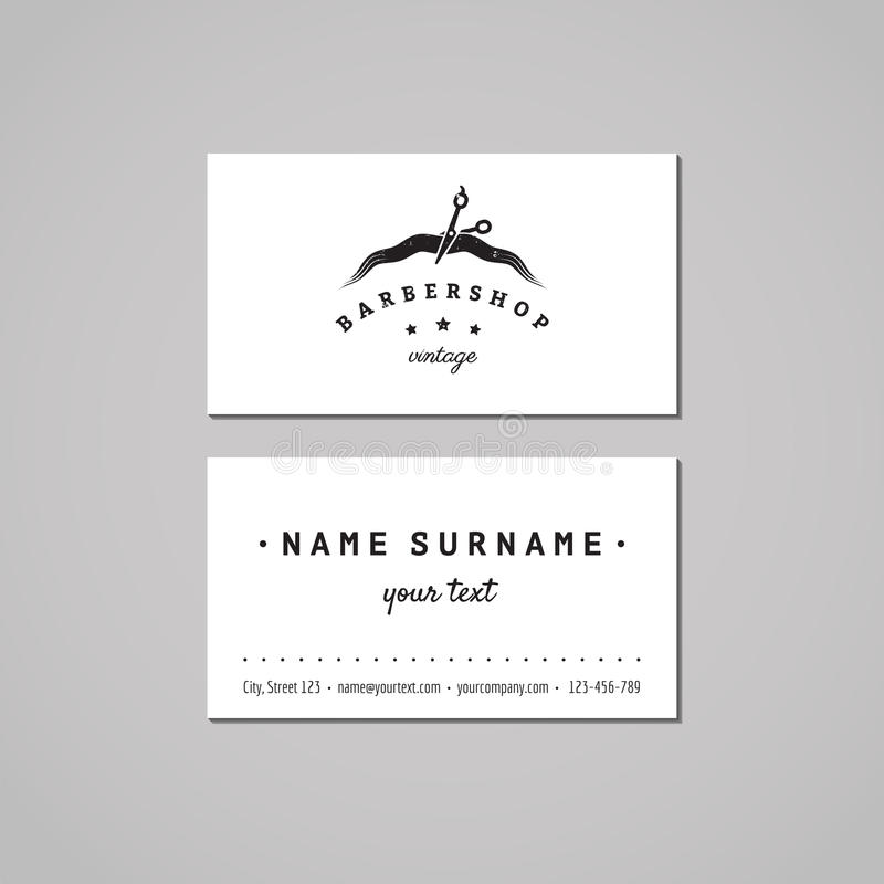 Barbershop business card design concept. Barbershop logo with scissors and hair strand. Hair salon vintage business card. stock illustration